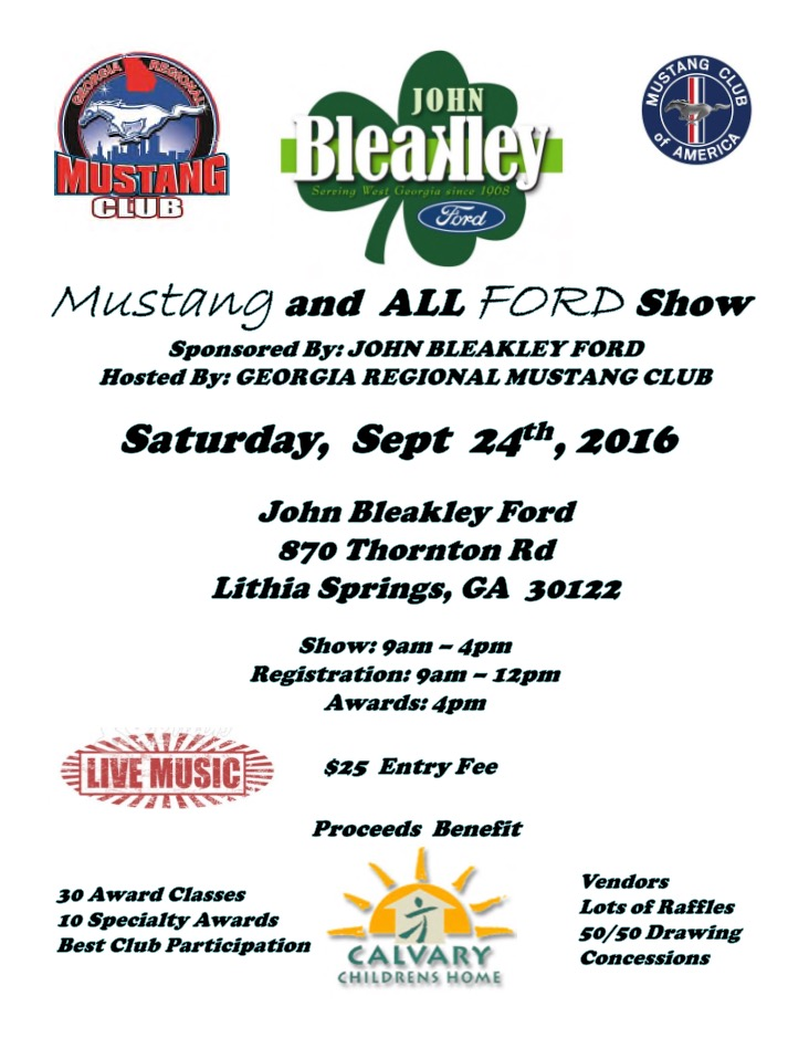 Bleakley Ford Car Show Flyer, Sept. 2016