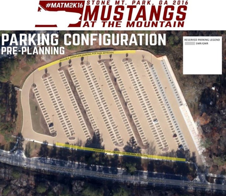 Mustangs at the Mountain parking lot, 2016