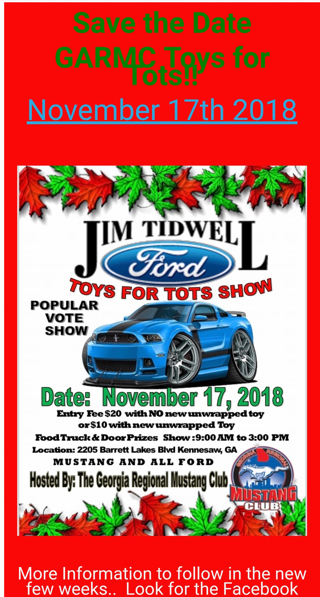 Jim Tidwell Ford Toys For Tots Show November Georgia - Toys for tots car show 2018